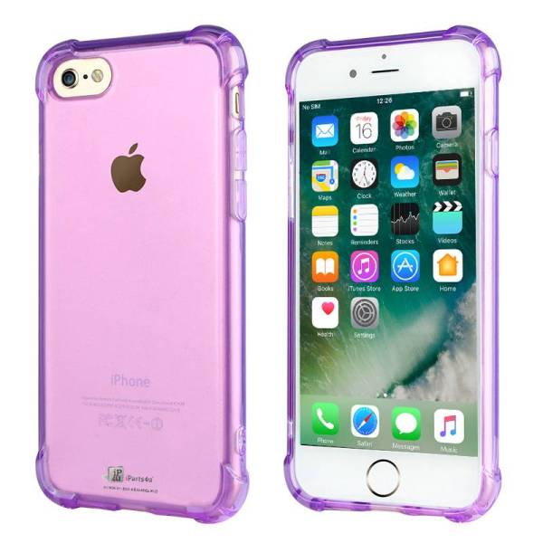 Shockproof iPhone 8/7 Bumper Case Siliconen Hoesje Paars Transparant