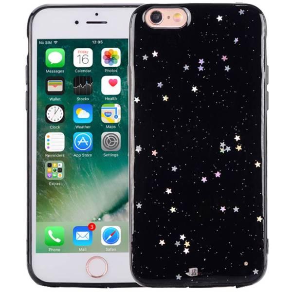 iPhone 6/6S Glitter Hoesje Silconen Sterretjes Zwart