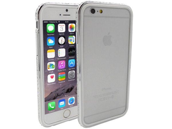 iPhone 6 en 6S Bumper Dubbel Wit Zilver Diamantjes