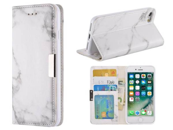 Marmer iPhone 8 / 7 Hoesje Bookcase Wit