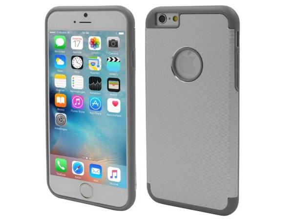 iPhone 6/6S Aluminium Logo Hardcase Hoesje Ruit Zilver