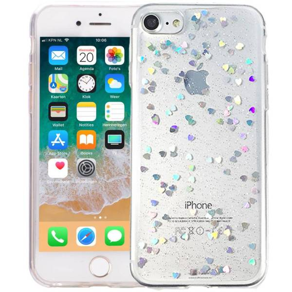 iPhone 6/6S Glitter Hoesje Siliconen Hartjes Transparant