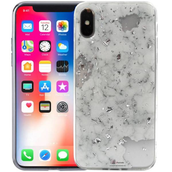 Marmer iPhone X Hoesje Marble Snippers Zilver Wit Siliconen