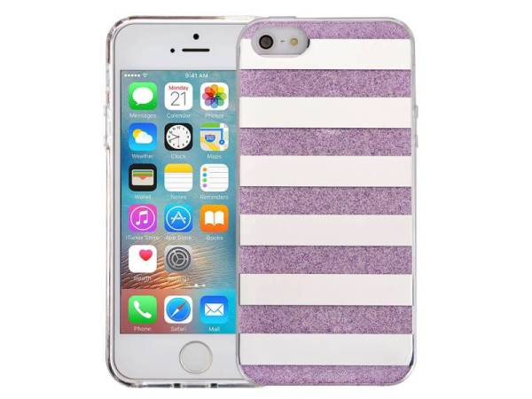 iPhone SE/5S/5 Glitter Hoesje Hardcase Strepen Paars