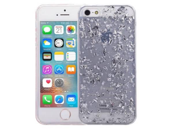 iPhone SE/5S/5 Glitter Hoesje Snippers Zilver
