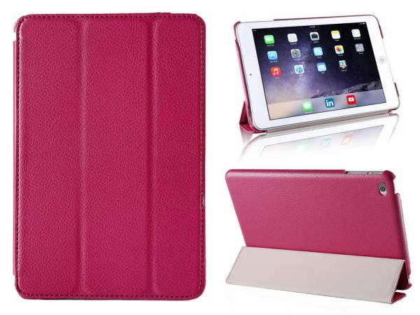 iPad Mini 4 Smart Case Hoes Leder Diep Roze