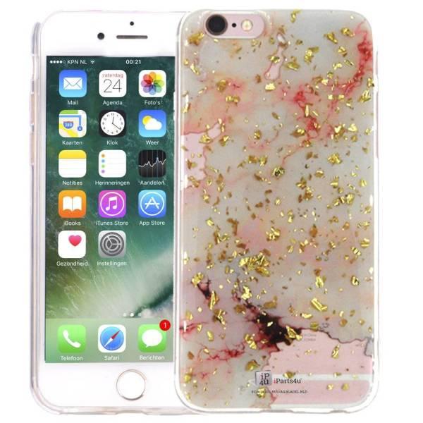 Marmer iPhone 6 en 6S Hoesje Marble Snippers Goud Roze Siliconen