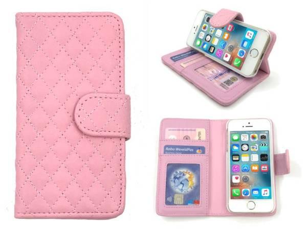 iPhone SE/5S/5 Bookcase Hoesje Wallet Ruitjes Roze