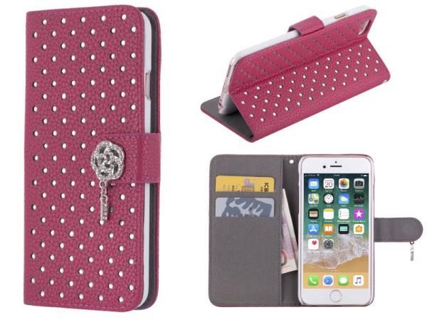 iPhone 8 en 7 Bookcase Hoesje Diamantjes Roos Diep Roze