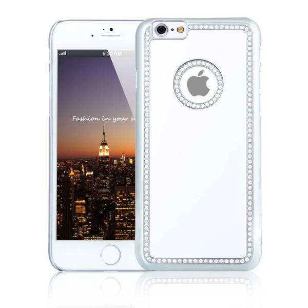 iPhone 6 en 6S Logo Snap Case Hoesje Diamantjes Zilver
