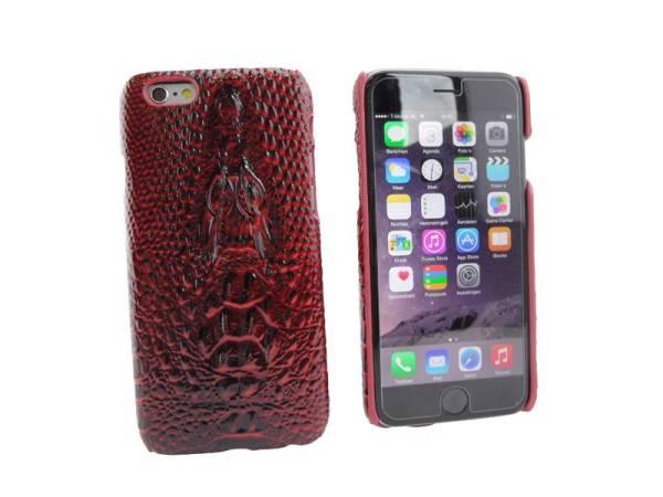Krokodil Hardcover Snap Case iPhone 6 en 6S Croco Rood