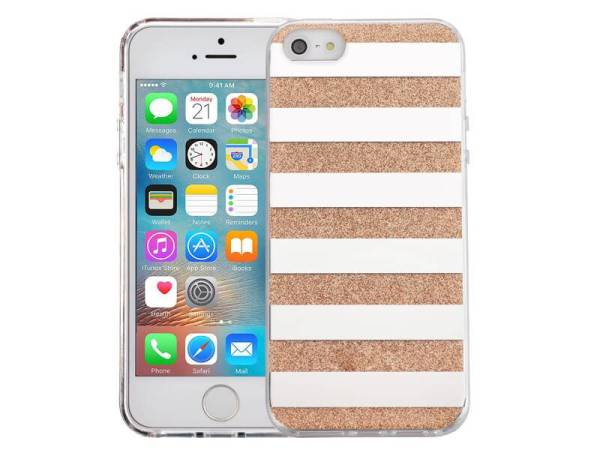 iPhone SE/5S/5 Glitter Hoesje Hardcase Strepen Goud