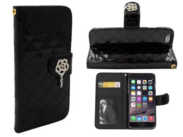 iPhone 6 en 6S Lederen Lak Bookcase Boek Hoesje Diamanten Roos Zwart