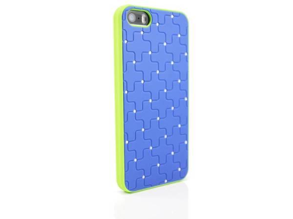 iPhone 5/5S Hardcover hoesje diamantjes Blauw