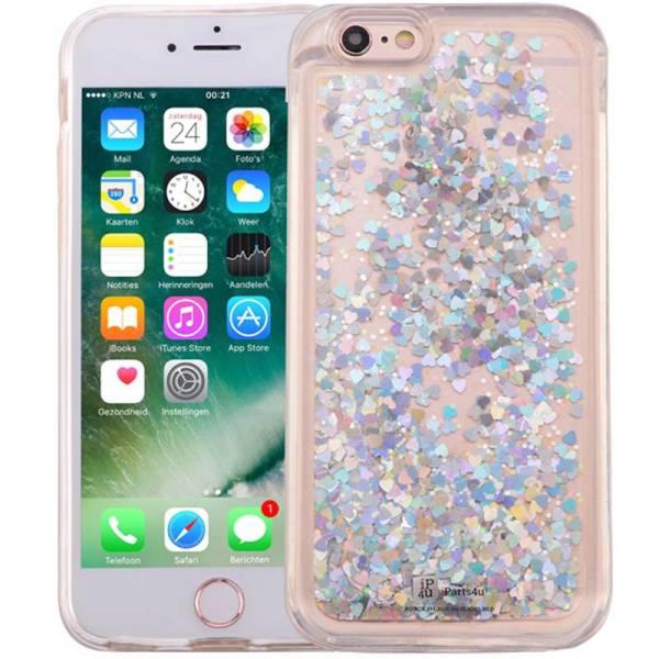 iPhone 8/7 Bewegend Glitter Hoesje Hartjes Zilver