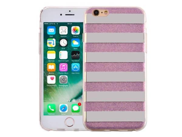iPhone 6 en 6S Glitter Hoesje Hardcase Strepen Paars