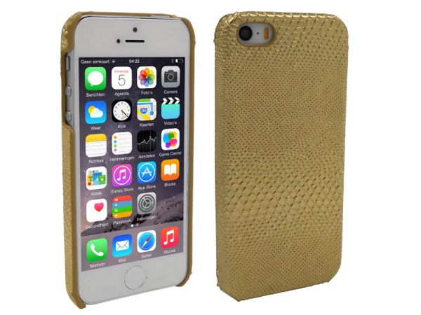 iPhone 5 en 5S Hoesje Hardcover Slangenprint Goud