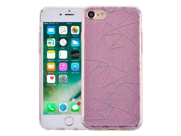 iPhone 8/7 Hoesje Hardcase Glitter Mozaïek Paars