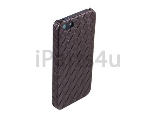 Gevlochten Leder iPhone 5/5S Hardcover Snap Case Bruin