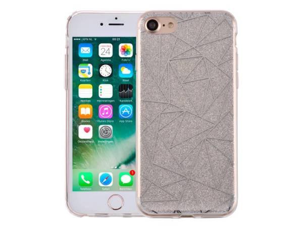 iPhone 8/7 Glitter Hoesje Hardcase Mozaïek Zilver