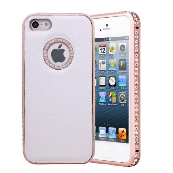Leder iPhone 5/5S Snap Case Hoesje Wit Diamantjes Rose goud