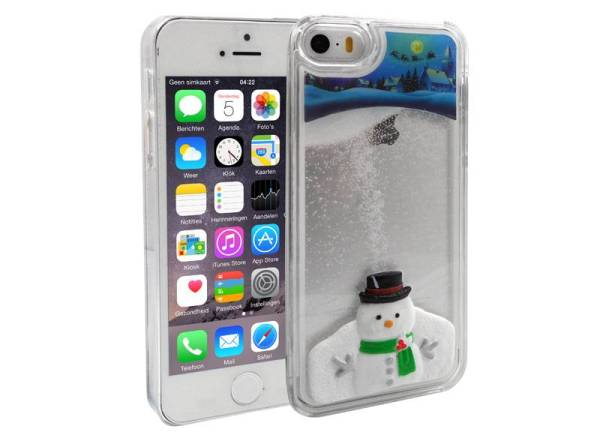 iPhone 5 en 5S Bewegend Hoesje Kerstmis Sneeuwpop