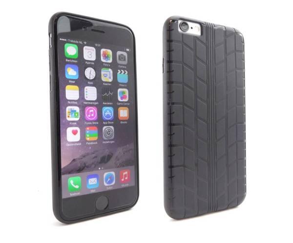 iPhone 6S en 6 Hoesje Siliconen Bandenspoor Zwart