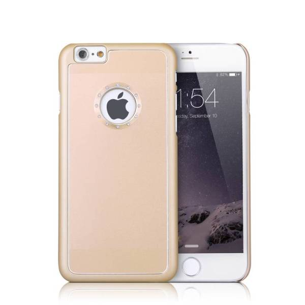 iPhone 6 en 6S Hoesje aluminium logo Snap Case Diamant Goud