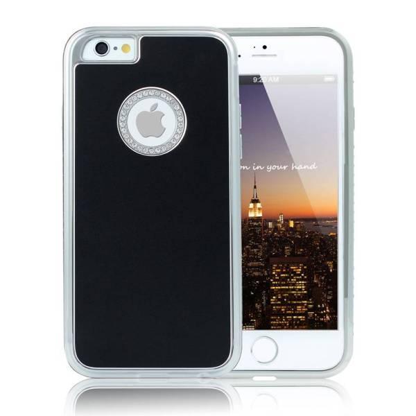 iPhone 6 en 6S Logo Snap Case Hoesje Zwart Diamantjes Zilver