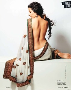 Vidya Balan in saree on FHM Cover 7 Nov 2010