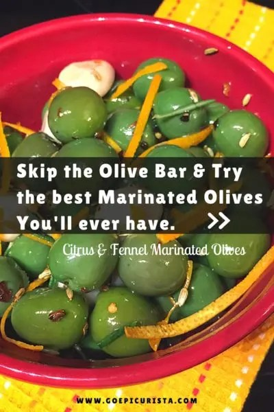 Citrus Fennel Marinated Olives for #SundaySupper Tapas Party