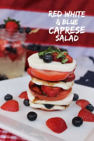 Red White and Blue Caprese Salad Easy Entertaining for #SundaySupper with GoEpicurista.com