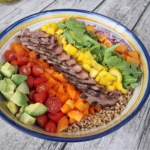 Steak & Farro Rainbow Salad #SundaySupper with GoEpicurista.com