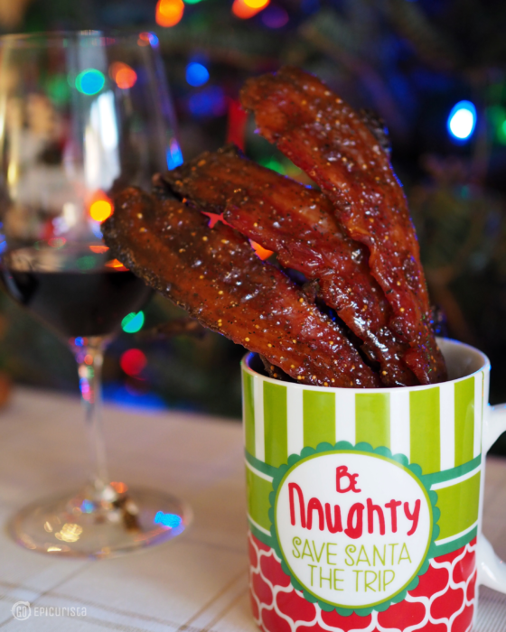Epic Fig Glazed Candied Bacon Recipe perfect for easy entertaining, paired with CK Mondavi Wines by GoEpicurista.com