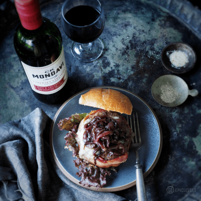 Gastropub Cab and Blue Burger and Cab Caramelized Onions Recipe with wine pairing perfect for a classy cookout with GoEpicurista.com