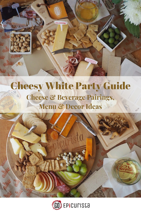 Host an Easy Cheesy White Party with cheese and drink pairings, menu and decor tips perfect for a casual picnic or chic gathering. Content by GoEpicurista.com