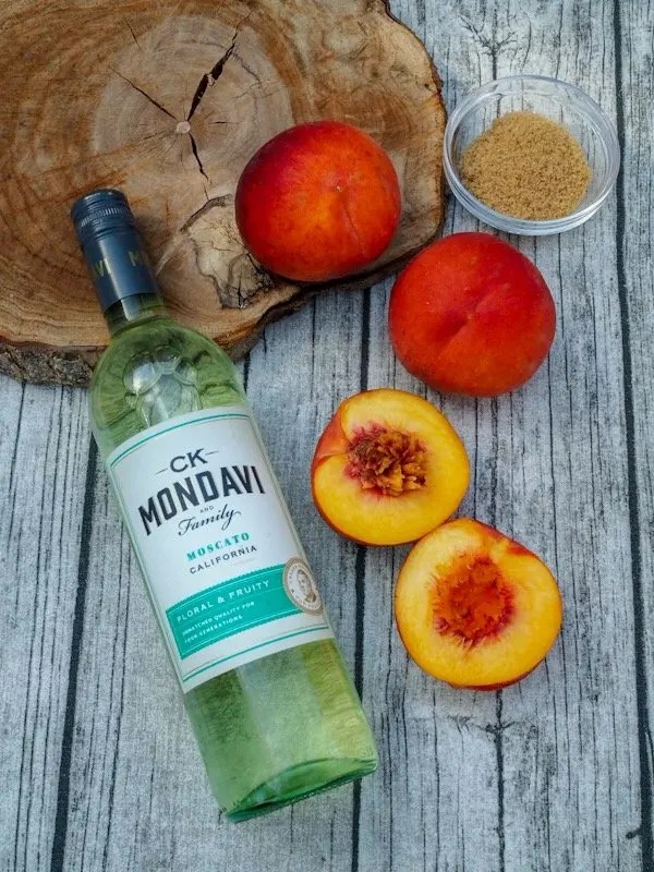 Moscato soaked Grilled Peaches & Wine Poached Cherries Mascarpone Whipped Cream Stack Recipe with CK Mondavi & Family Wines
