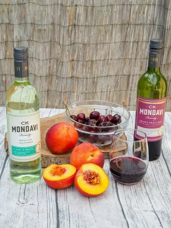 Wine pairings for Grilled Peaches & Wine Poached Cherries Mascarpone Whipped Cream Stack Recipe with CK Mondavi & Family Wines