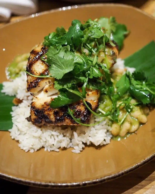 Grilled Grouper with Green Mole from Frontera Cocina at Disney Springs Taste of Oaxaca Seasonal Menu and Fun Random Facts about Mole including How To Make an Easy Mole from Chef Rick Bayless