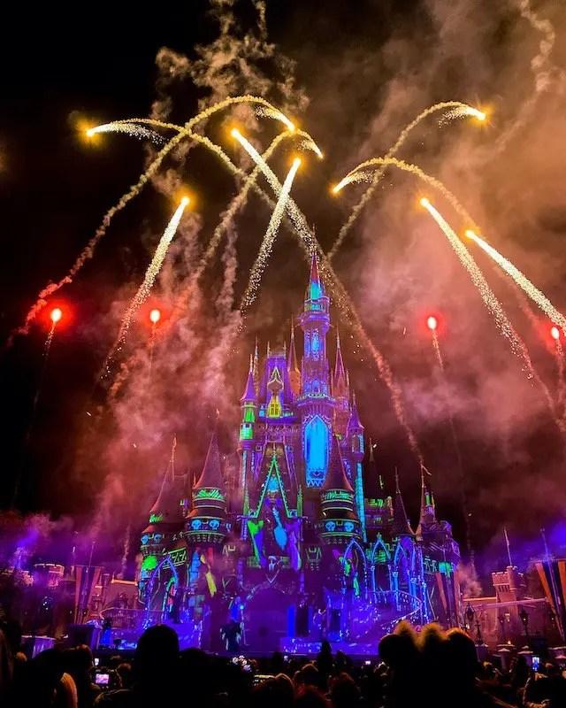 Cinderella's Castle Fireworks during Disney Villains After Hours Event