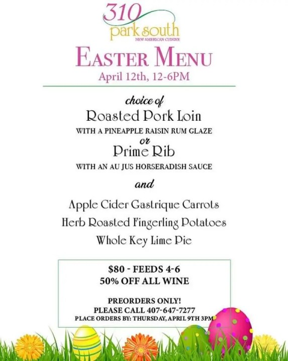 Where to get Easter To Go in Orlando featuring best Orlando Restaurants and Chefs preparing family meals for take out and delivery