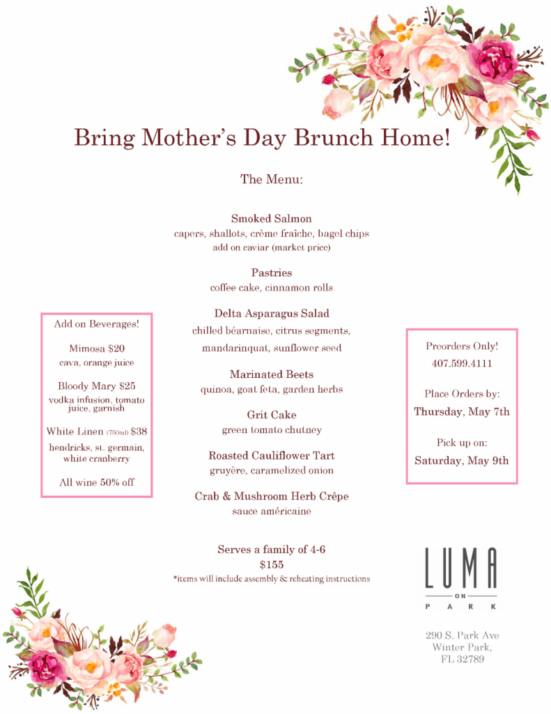 Luma on Park to Celebrate Mother's Day in Orlando 2020
