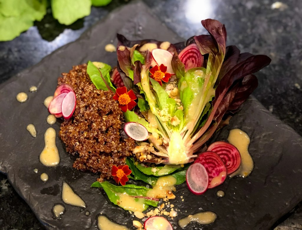 Burnt orange miso vinaigrette dressing recipe courtesy of Wyndham Grand Orlando Resort Bonnet Creek to inspire your next Florida vacation