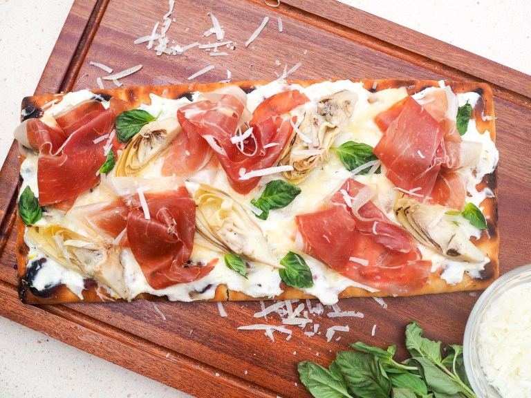Grilled Flatbread with Prosciutto Artichokes and Ricotta Recipe perfect for summer outdoor gatherings