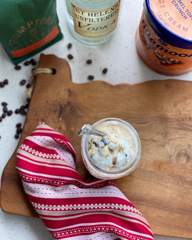 In this boozy caramel affogato, rich coffee, caramel ice cream and craft vodka come together for an easy to make boozy treat inspired by Oregon.