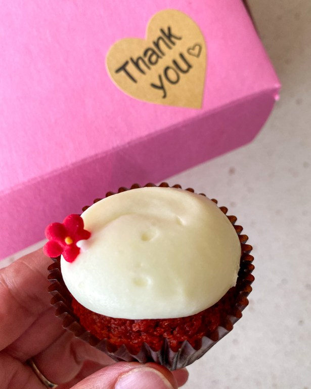 Signature Red Velvet Cupcake. Get to know Sheila Norton of B Cupcakes in Orlando, support black owned businesses and add some sweet inspiration to your life with cakes of all sizes.