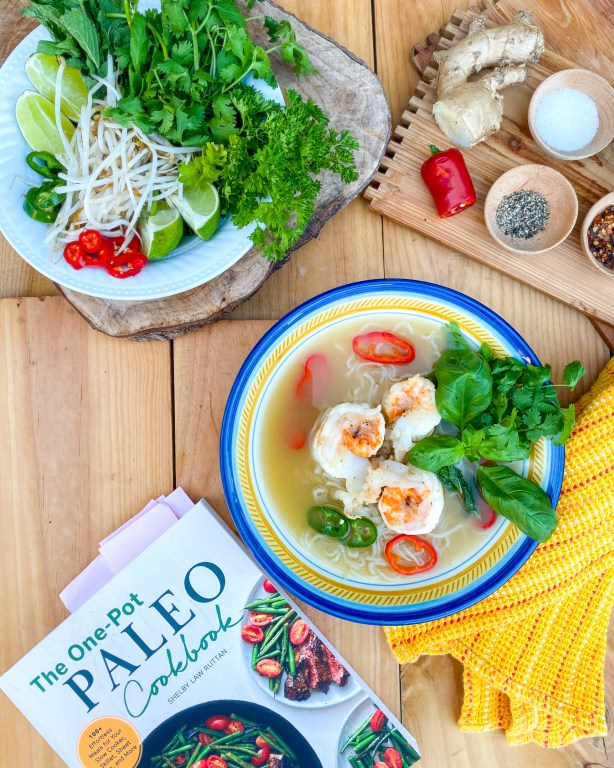 Shrimp Pho Noodle Soup Recipe from One Pot Paleo Cookbook