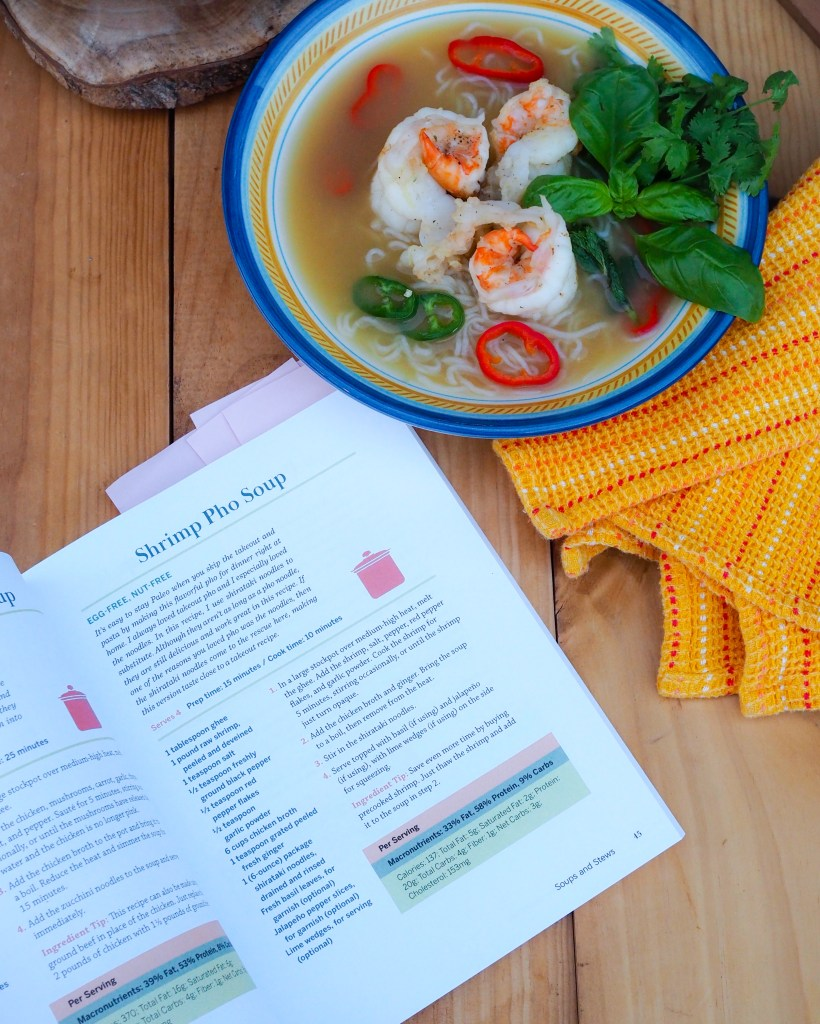 One Pot Paleo Cookbook by Shelby Law Ruttan features Shrimp Pho Soup
