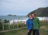 Allison, Isaiah at beach in Rio de Janeiro