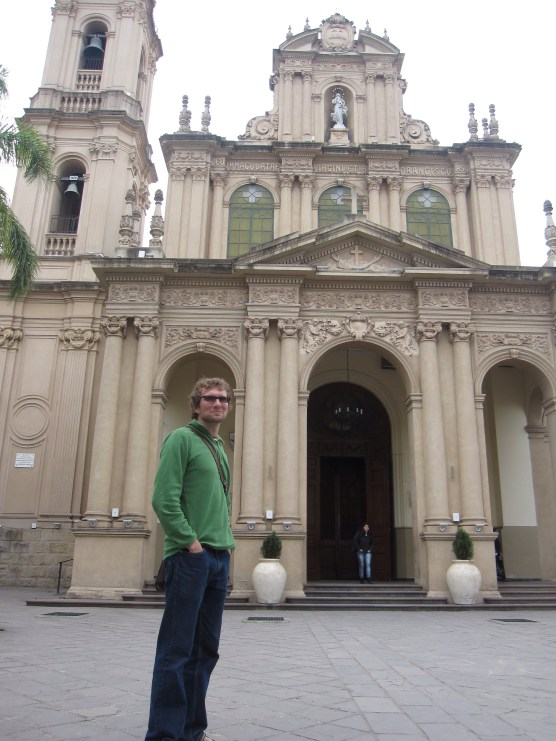 Isaiah with cathedral in Jujuy, Argentina